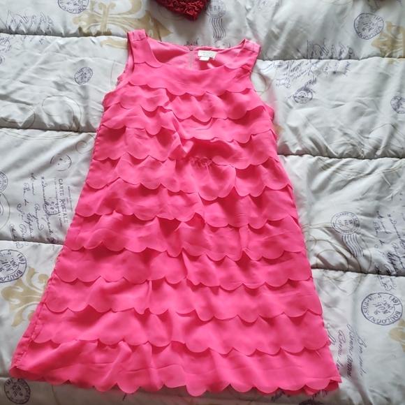Girls Pink Scalloped Dress